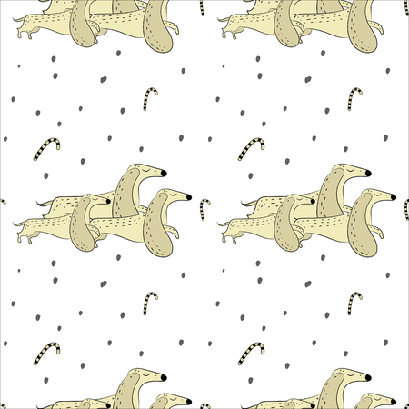 Vector seamless pattern of hand drawn dachshunds. Symbols of the New Year 2018. Zdjęcie Seryjne - 90022923
