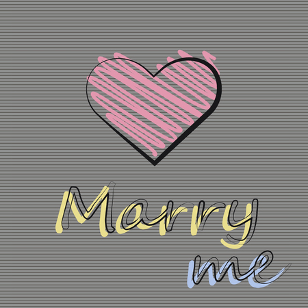 Vector illustration with a heart on a dark background. Invitation to get married.