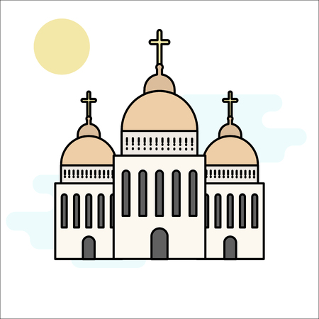 Icône de l'église isolé sur fond blanc. Illustration vectorielle pour la conception de l'architecture de la religion. Dessin animé église bâtiment silhouette avec croix, chapelle, cloche. Symbole traditionnel saint catholique.