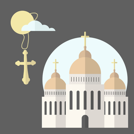 Church icon isolated on dark background. Vector illustration for religion architecture design. Cartoon church building silhouette with cross, chapel, bell. Catholic holy traditional symbol.