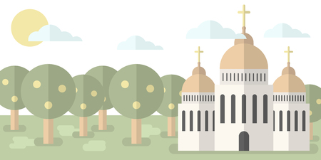 Church with domes and crosses against the backdrop of nature, forest. Vector illustration. Religion, baptism, hope. Illustration