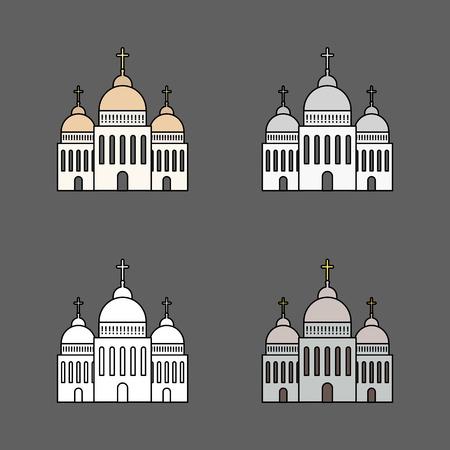 Ensemble d'icône de l'église isolé sur fond sombre. Illustration vectorielle pour la conception de l'architecture de la religion. Dessin animé église bâtiment silhouette avec croix, chapelle, cloche. Symbole traditionnel saint catholique.