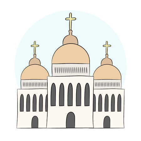 Vector church, temple, chapel with domes and crosses. Religion is Christianity, Baptism. Isolated object on white background. An illustration painted by hands, hand draw. Style doodle. Illustration