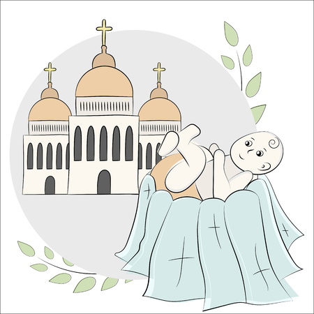 Church, temple, chapel with domes and crosses. Branches of a tree with leaves. Baptism of the child, christening. Vector illustration, painted with hands in the style of doodle.