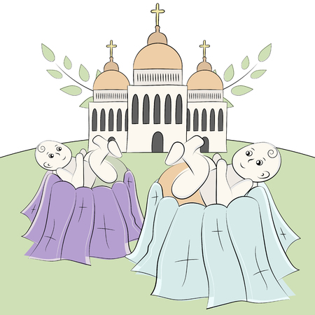 Church, temple, chapel with domes and crosses. Branches of a tree with leaves. Baptism of the child, christening. Twins. Vector illustration, painted with hands in the style of doodle