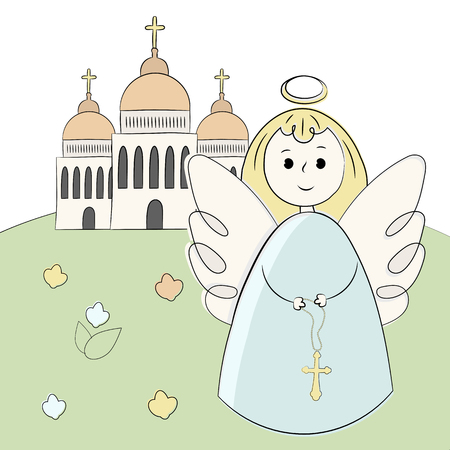 Vector church, temple, chapel with domes and crosses. Religion is Christianity Baptism. . Landscape, grass, angel. Illustration hand draw Style doodle