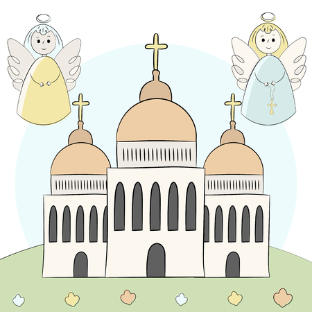 Vector church, temple, chapel with domes and crosses. Religion is Christianity, Baptism. Beautiful building on a background of nature. An illustration painted by hands, hand draw. Style doodle.
