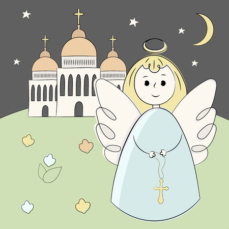 Vector church, temple, chapel with domes and crosses. Religion is Christianity Baptism. . Beautiful scenery and building at night. Moon, stars and angel. Illustration hand draw. Style doodle Illustration