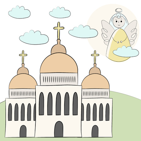 Vector church, temple, chapel with domes and crosses. Religion is Christianity Baptism. . Landscape grass angel in the clouds in the sky. Illustration hand draw. Style doodle.