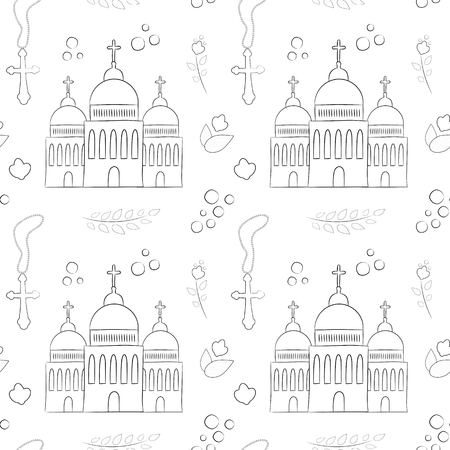 Vectron seamless pattern of elements drawn manually in the style of doodle. Christening, infant, religion, church. Used for wallpapers, backgrounds, wrapping paper.