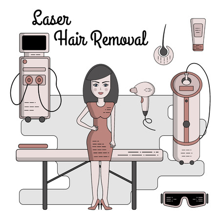 Vector flat illustration on a laser or photo epilation. Equipment for laser hair removal, couch, laser, glasses, cream, sapphire tip. Isolated objects. Process of Laser, electro or Photo epilator hair removal