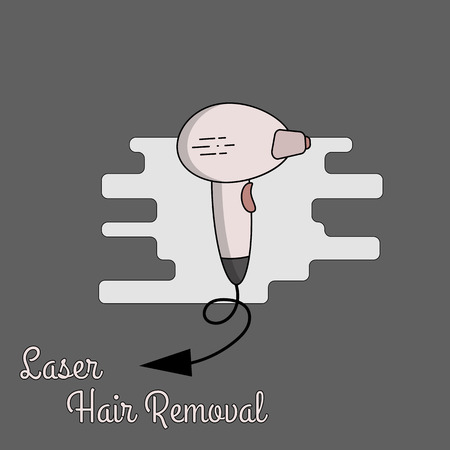 Vector flat illustration of equipment for laser, photo and electro hair removal. Diode laser, sapphire tip, accessories for the procedure.