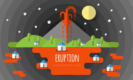 Vector illustration of a volcanic eruption. Beautiful mountain landscape, sky, clouds, stars, village houses. Material flat design with volume elements and shadow. Illustration