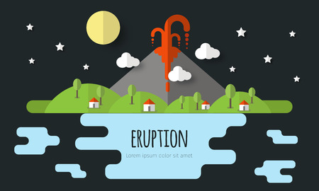 Vector illustration of a volcanic eruption. Beautiful mountain landscape, sky, clouds, stars, village houses. Material flat design with volume elements and shadow. Ilustração