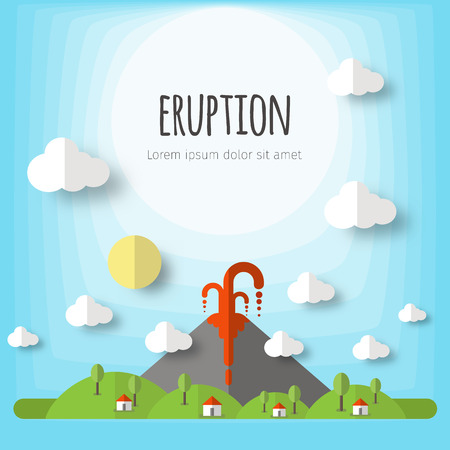 Vector illustration of a volcanic eruption. Beautiful mountain landscape, sky, clouds, stars, village houses. Material flat design with volume elements and shadow. 向量圖像