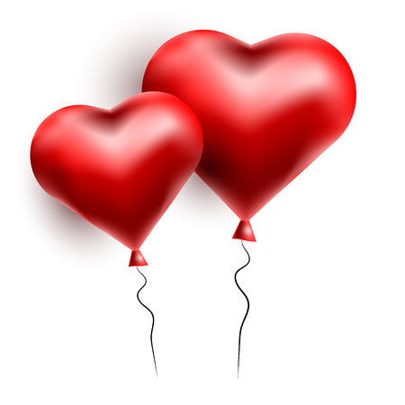 Vector greeting card with 3d hearts. Valentine s Day. Love and romance.
