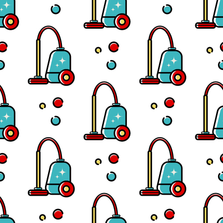 Vector seamless pattern of accessories for cleaning the house. Flat linear art on a white background. Ornament for wallpaper, websites, backgrounds, wrapping paper, corporate style Illustration