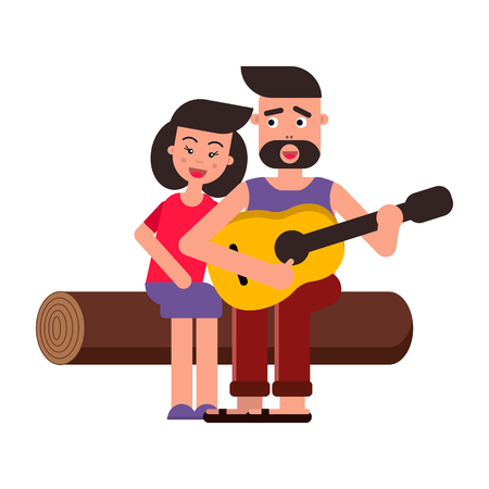 Vector flat illustration, style cartoon. Young happy family on a picnic. A couple in love, songs and guitar. White background.
