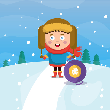 A little boy in winter is rolling down a hill in the forest. Snowing. Vector flat cartoon style illustration