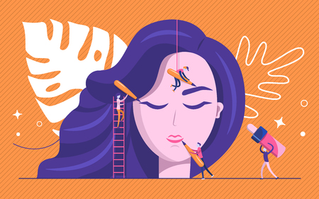 Permanent makeup. The scene with the big head of the girl and the little people are the masters who do the tattoo. Vector flat illustration.