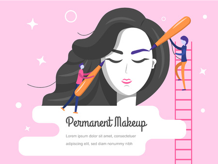 Permanent makeup. The scene with the big head of the girl and the little people are the masters who do the tattoo. Vector flat illustration. 写真素材 - 115993326