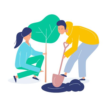 Freiwillige Mädchen und Jungen pflanzen einen Baum. Landschaftsgestaltung des Planeten. Flache moderne Vektorgrafik des Vektors auf weißem Hintergrund