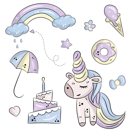 Vector set of isolated objects on white background. Cute unicorn, cake and donut. Rainbow with clouds, rain and umbrella. Heart with a star and color. Hand drawn objects.