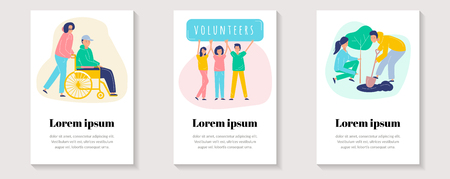 A set of cards with people volunteers. Greening the planet, helping people with disabilities