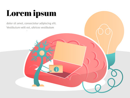 Neurons transmit information to the brain. Vector flat illustration