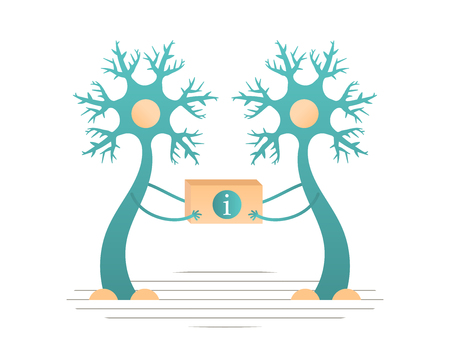 Las neuronas transmiten información al cerebro. Ilustración vectorial plana
