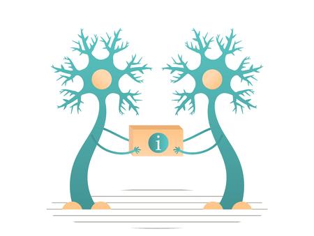 Neuronen geven informatie door aan de hersenen. Platte vectorillustratie