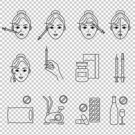Icono de línea de inyección de belleza. Mujer, rostro, jeringa médica. Concepto de cuidado de la belleza. Se puede utilizar para temas como rejuvenecimiento, estética, cosmetología.