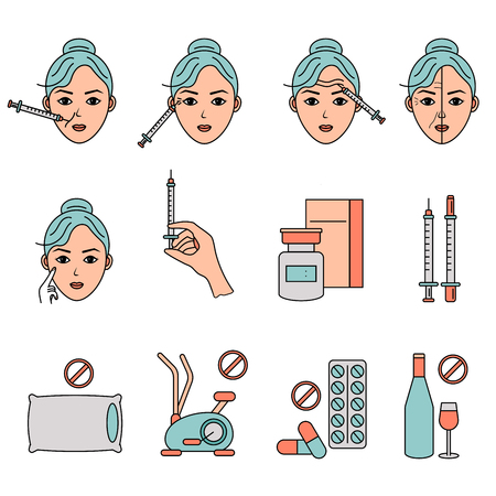Beauty injection vector line icon. Woman, face, medical syringe. Beauty care concept. Illusztráció