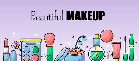 Accessories set for a beautiful make-up. Mascara, foundation, eye shadow, lipstick. Vector banner for a site with isolated objects and place for text.