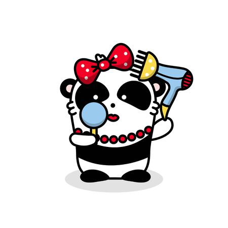 Cute vector animal panda kawaii illustration. The bear girl is going on a date. Dries your hair with a hair dryer and looks in the mirror. Isolated object sticker on a white background