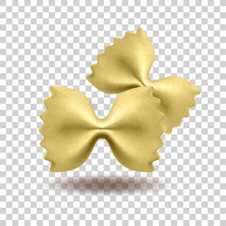 Vector realistic pasta farfalle made from flour. National italian food. Isolated object on a transparent background Ilustracja