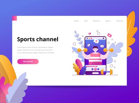 A young man athlete talks about sports. The blogger records a video about a lifestyle and posts it on the channel to the social network. Vector flat illustration template for landing page