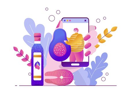 Blogger man talks about the keto diet and holds an avocado. Olive oil and salmon for cooking. Smartphone in hand. Vector flat illustration with botanical leaves