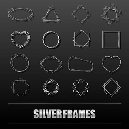 Big set of silver metal frames for banners, cards, invitations, weddings and holidays. Geometric shapes circle, heart, square, star. Vector isolated objects on a black background.