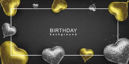Happy Birthday Background. Gold and silver balloons heart shape and sparkles. Vector invitation banner. Иллюстрация