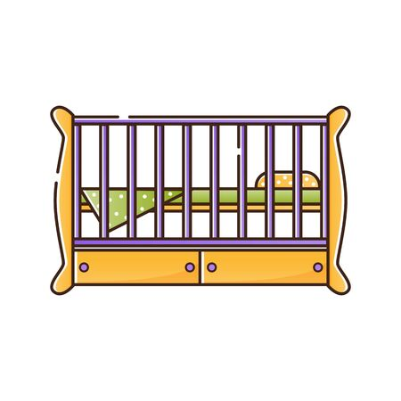 Wooden crib for a newborn child with a pillow and blanket. Vector isolated object on a white background. Birth of a baby boy or girl.