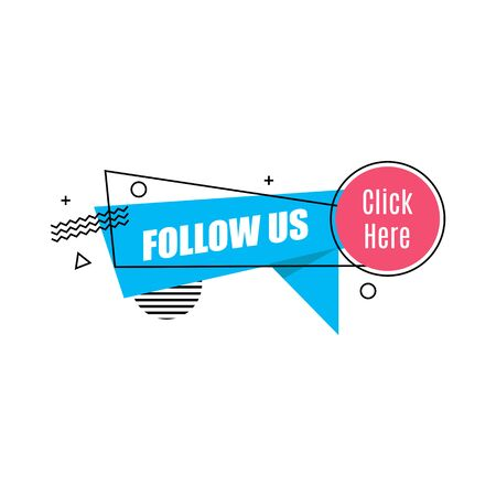 Vector linear social media tag. Follow us. Isolated object on white background memphis style Vettoriali