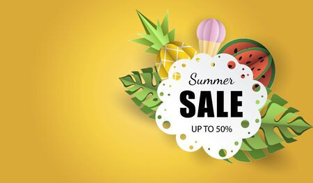 Vector summer background banner 3d paper cut with lace, ice cream. Fruit pineapple and watermelon. Flyer for advertising sales