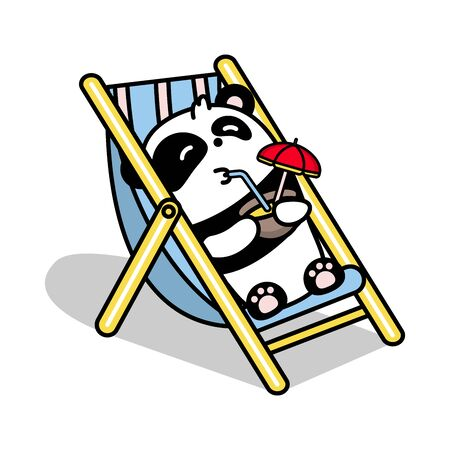 Little cute panda lies in the gamma and drinks a coconut cocktail. Vector flat color illustration in linear style on white background. Kawai bear.