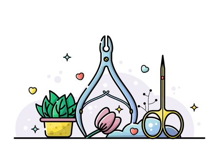 Nail salon and manicure tools. Cuticle tongs and scissors. Vector flat illustration in linear style with botanical elements.
