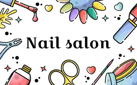 Vector flat banner for nail salon. Illustration in linear style with place for text. Poster Template. flyer and invitation card.