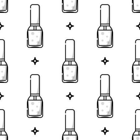 Nail salon. Tools and accessories for manicure and nail. Vector flat monochrome seamless pattern in linear style
