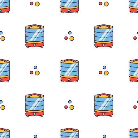 Vector seamless pattern in linear style. Kitchen electric appliances for cooking. The process of drying vegetables and fruits in the dryer.