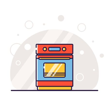 Kitchen electric appliances for cooking. Electric stove with oven. Vector flat illustration in linear style.