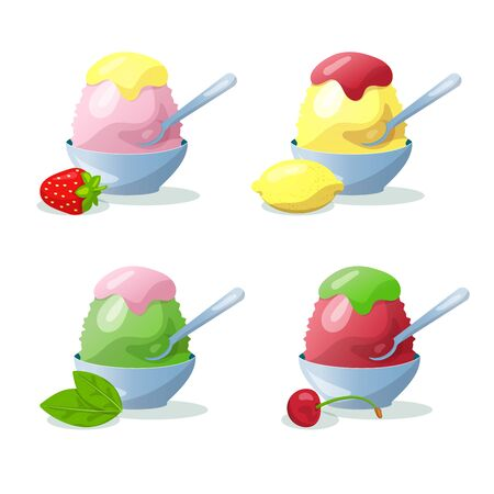 Traditional Japanese dessert kakigori. Ice chips with strawberry, lemon, cherry and green tea syrup. Vector flat illustration. Isolated objects on white background Stock Illustratie
